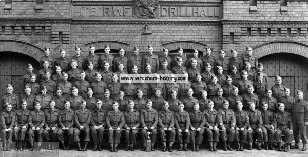 1941 Wrexham Home Guard photographed outside The Drill Hall Poyser Street, Wrexham