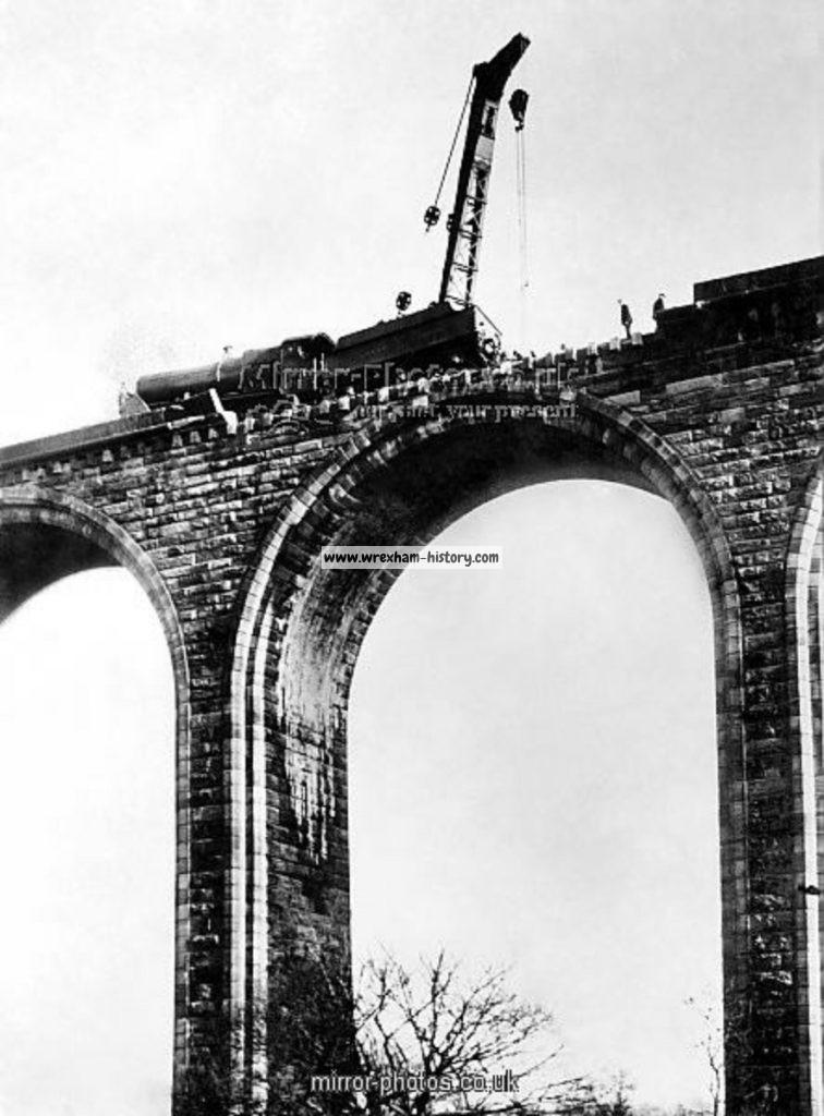 The crash scene on Cefn Viaduct in 1928