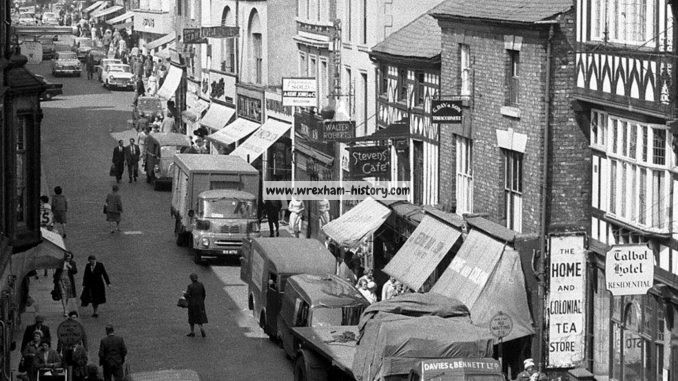 Looking up a bustling Hope Street ,Wrexham in 1962