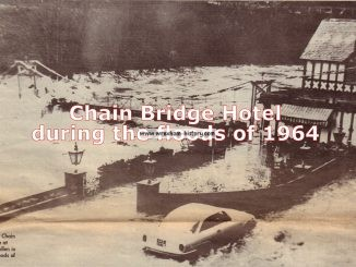 Chain Bridge Hotel during the floods of 1964