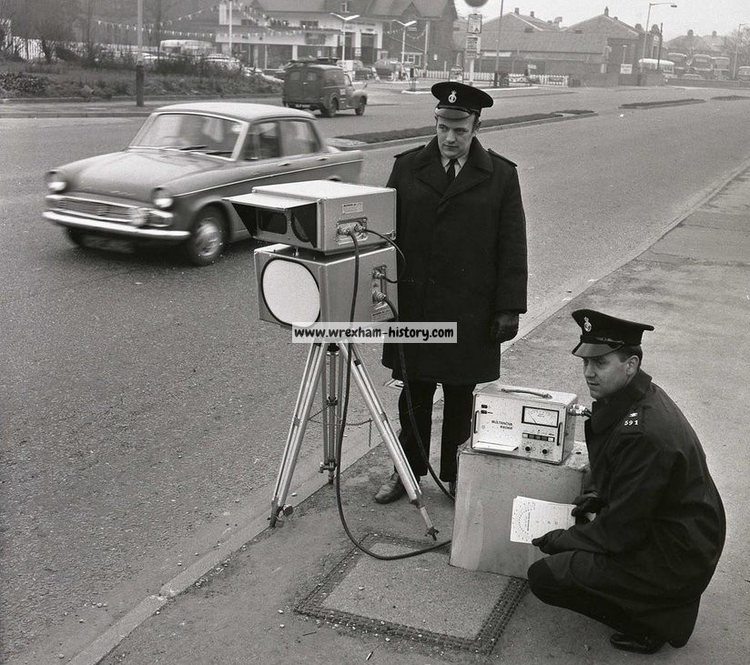 Police speed camera on Mold Road Wrexham in 1971